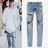 God of Fear Justin Bieber Fear of God Best Version FOG Men Selvedge Zipper Destroyed Tour Pants Skinny Jeans Blue Jeans Slim Fit