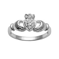 Sterling Silver 1/10-ct. T.W. Round-Cut Diamond Claddagh Ring (White)