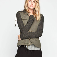 Others Follow Breakup Womens Twill/Fleece Jacket Olive  In Sizes