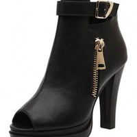 Black Fish Mouth PU Booties - OASAP.com