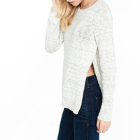 Crew Neck Slub Knit High Slit Sweater from EXPRESS