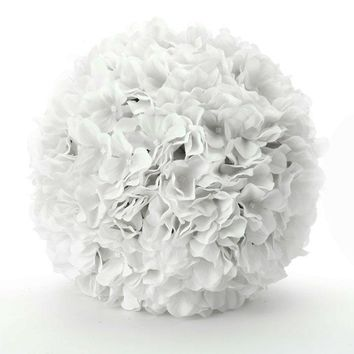 "White Silk Hydrangea Pomander Kissing Ball - 8"" Wide"