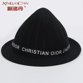 High Quality Child Wool Cloche Felt Hat Letter Bucket Beret Autumn Winter Woolen Fedora Hats For Boy And Girl WH192