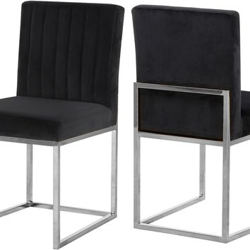 Giselle Black Velvet Dining Chair (set of 2)