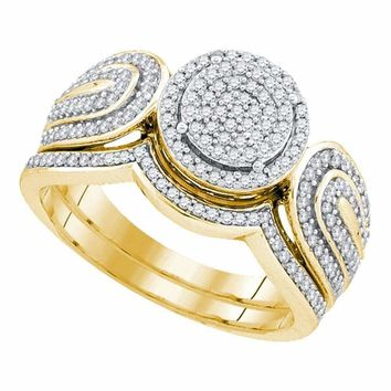 10kt Yellow Gold Women's Round Diamond Cluster Bridal Wedding Engagement Ring Band Set 1-2 Cttw - FREE Shipping (US/CAN)