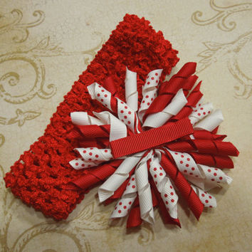 Red Crochet headband with Red and White Korker Ribbon flower for christmas, holiday, children, baby, stocking stuffer by MarlenesAttic