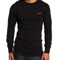 Carhartt Men's Big & Tall Heavyweight Cotton Thermal Crewneck Top,Black  (Closeout),Large