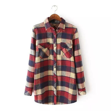 2016 Spring New Arrival Women Fashion Vintage Long Sleeves Plaid Shirts, Female Casual Autumn and Winter Flannel Blouses Tops