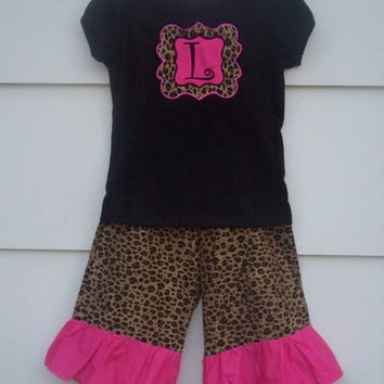 Cheetah Print Ruffle Capris Outfit/ Cheetah & Pink Ruffle Pants with Matching Shirt