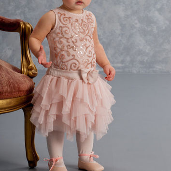 Biscotti Glass Slipper Champagne Drop Waist Toddler Dress