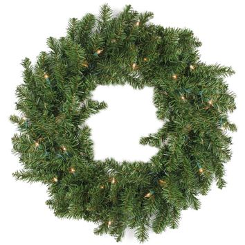 "30"" Pre-Lit Battery Operated Canadian Pine Christmas Wreath - Clear LED Lights"