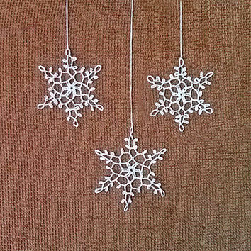 Crochet Snowflake #2 Handmade christmas tree decorations Xmas holiday decor Christmas Time New Year ornaments accents Winter Snow presents