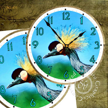 "African Crane - DIY 12"" Clock Face Art - Collage Sheet - Printable Images - Wall Decor - Transfer Art - Crafts sg431"