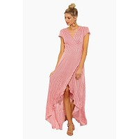 Puerto Rico Ruffle Wrap Maxi Dress - Red & White Stripe Print
