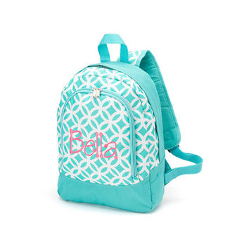 Sadie Aqua and White PRESCHOOL Back Pack for back to school Free Personalization