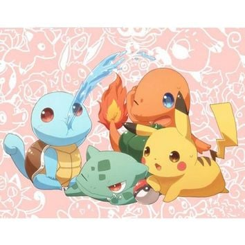 Gift Paste 5D DIY  Go Genie Turtle Printing Full Area Mosaic Diamond Painting round Embroidery Cartoon Wall Decor KL322Kawaii Pokemon go  AT_89_9