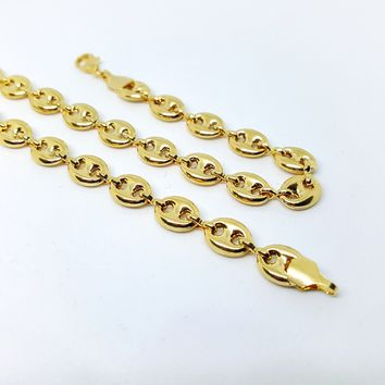 "1-1720-h1 Gold Filled, Hallow Marine, Puff necklace, 18""-36"" length, 8mm links,"
