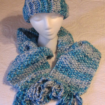 Knitted Scarf and Crochet Hat Set in Multi Color in Blues and White made with Thick Yarn Scarf has a Chain Fringe