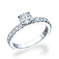 Bar - Round Side Stone Engagement Ring in 14k White Gold (1.65 ct t.w)