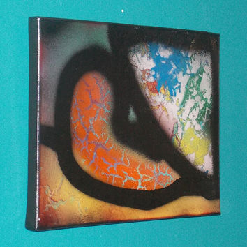 Citron Chrysoprase #3 Crystal Energy Art Abstract Spray Paint 9x12 Healing Energy Spiritual Painting Stretched Canvas