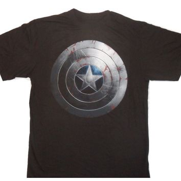 Authentic Marvel Captain America Beaten Shield Black T-Shirt Big and Tall Sizes
