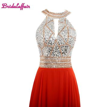 Bridalaffair Real Photo Red Chiifon Halter Neck Appliques Prom Dresses 2017 Simple Backless Long Crystal Sashes Party Prom Gowns