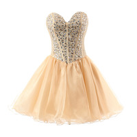 Fabulous Gold Homecoming Dresses Beaded Rhinestones Sweetheart A line Short Prom Dress for Party Backless Organza Ruffles