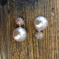 Peek-a-Boo Earring- Rose Gold Pave and Rose Pearl