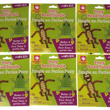 Keychains Creative Hands Pony Bead Jungle Smart Kit Makes 2 Set of 6 Kits Craft