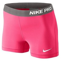 "Nike 3"" Pro Core Compression Shorts Dri-Fit Workout 589364 (Small, Hyper Punch/Ivory)"