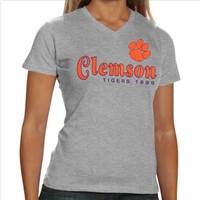 Clemson Tigers Ladies Victory Parade Slim Fit V-Neck T-Shirt - Ash