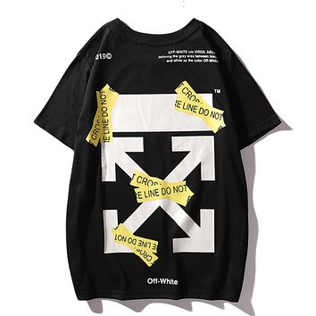 Off White Fashion New Summer Cross Arrow Letter Print Women Men T-Shirt Top Black