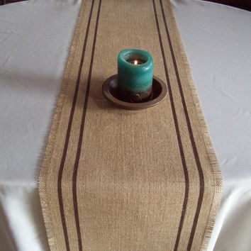 Burlap Table Runner 12 x 108 with Hand Painted Double Stripes - Choose Your Colors - Burlap Runner