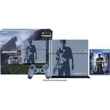 Sony - PlayStation 4 Console Limited Edition Uncharted 4 Bundle - Gray Blue with Custom Silk Screened Artwork