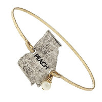"""Women's """"Peach"""" Georgia Charm Bangle. Worn Gold/silver Plating. 2-tone Hammered Charm Bangle - Georgia. """"Peach"""" Engraving. Wire-wrapped Ivory Imitation Pearl Accent. Slide-on Bangle; 1 Size Fits Most."""