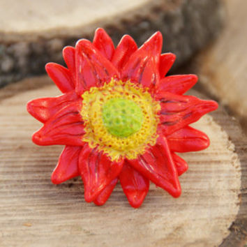 Red Daisy Ring , Adjustable, Handmade Polymer Clay