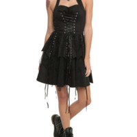 Hearts & Roses Black Corset Ruffle Mini Dress