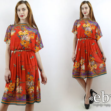 Vintage 70s Red Floral Asian Print Summer Dress S M L Asian Dress Red Dress Hippie Dress Hippy Dress Boho Dress 70s Dress