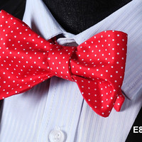 E810 RED, WHITE DOT Cotton Blend Men Gravata Classic Wedding Bow Tie, Butterfly
