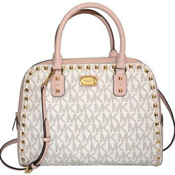 DCCKNY1 MICHAEL Michael Kors Women's SANDRINE STUD Large Satchel Leather Handbag