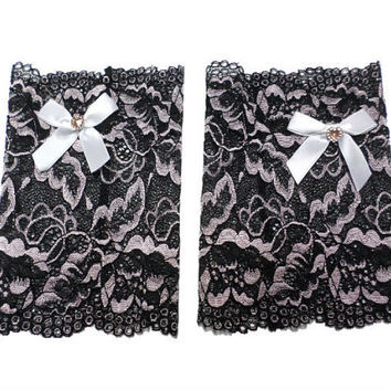 Two-tone Black Floral Scalloped Stretch Lace Satin White Heart Bow Peek a Boo Boot Cuffs Lace Boot Cuffs Boot Toppers, gift