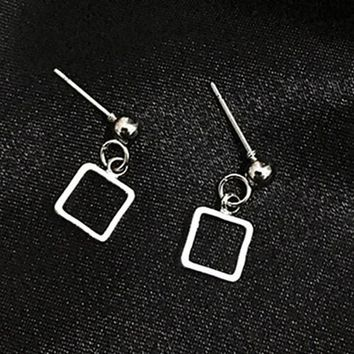 ES331 Women's Square Stud Earrings Geometric Ear Jewelry Party Earring Gothic Simply Brincos Fashion Minimalist