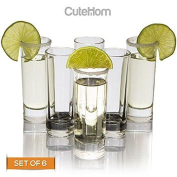 Cutehom Tall Tequila Shot Glasses  Set of 6 Crystal clear Glassware Kit
