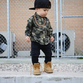 Toddler Kids Baby Boy Girls Camo Tops Shirt Long Sleeve T-shirt Clothes US Stock