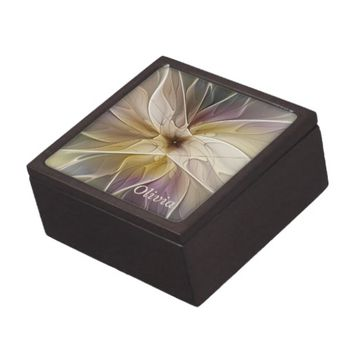 Floral Fantasy Pattern Abstract Fractal Art Name Jewelry Box