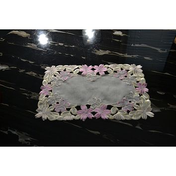 Set of 6 Fancy Flowers Embroidered Cutwork Spring Placemats, 11 by 17-Inch, Multi-Color
