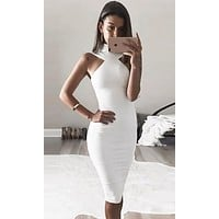 Run Wild White Sleeveless Mock Cut Out Neck Off The Shoulder Halter Bodycon Bandage Midi Dress