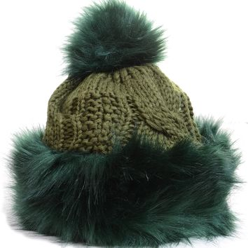Furry Sherpa Lined Vegan Pom Pom Fashion Winter Knit Beanie Hat