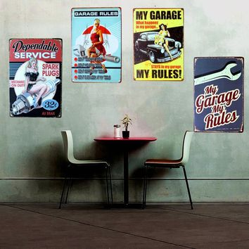 GARAGE Rules Vintage Home Decor Shabby Chic Metal Sign