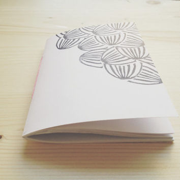 Pocket Notebook Hand Printed Journal with Linocut Black and White Watermelon Print